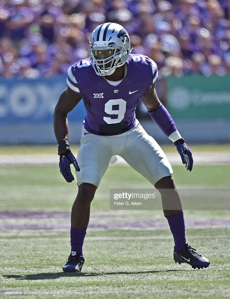 Linebacker Elijah Lee of the Kansas State Wildcats gets set on defense the Louisiana Tech Bulldogs during the first half on September 19 2015 at Bill...