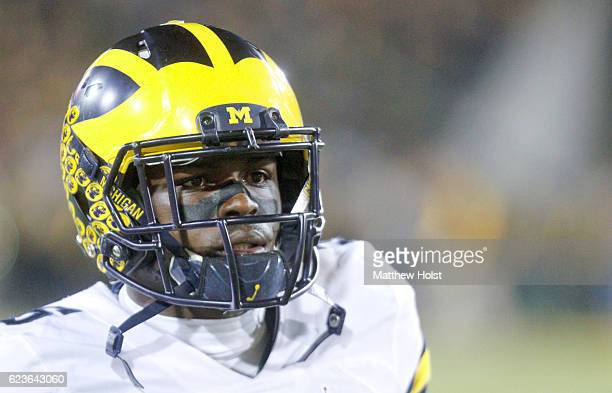 Linebacker Jabrill Peppers of the Michigan Wolverines before the matchup against the Iowa Hawkeyes on November 12 2016 at Kinnick Stadium in Iowa...