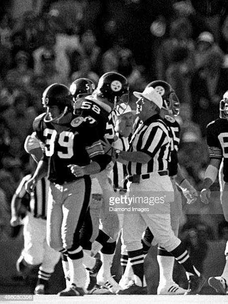Linebacker Jack Lambert of the Pittsburgh Steelers argues with an official after a fight during Super Bowl X on January 18 1976 against the Dallas...