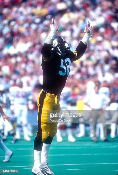 Linebacker Jack Lambert of the Pittsburgh Steelers in action against the Denver Broncos during an NFL football game September 4 1983 at Three Rivers...