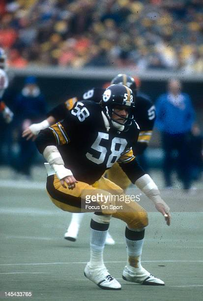 Linebacker Jack Lambert of the Pittsburgh Steelers in action against the Denver Broncos during an NFL football game circa 1978 at Three Rivers...