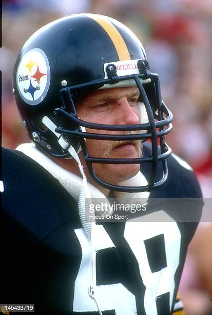 Linebacker Jack Lambert of the Pittsburgh Steelers looks on during an NFL football game circa 1980 Lambert played for the Steelers from 197484