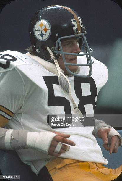 Linebacker Jack Lambert of the Pittsburgh Steelers looks on from the bench during an NFL football game circa 1976 Lambert played for the Steelers...