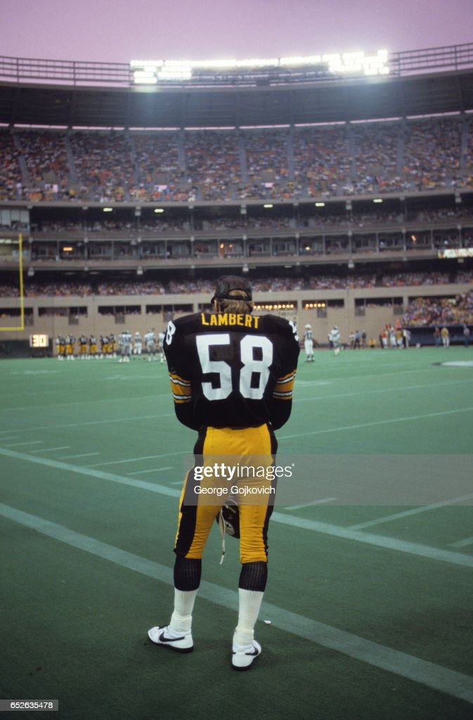 34f45f9b ... Jersey Linebacker Jack Lambert 58 of the Pittsburgh Steelers looks on  from the sideline during ...