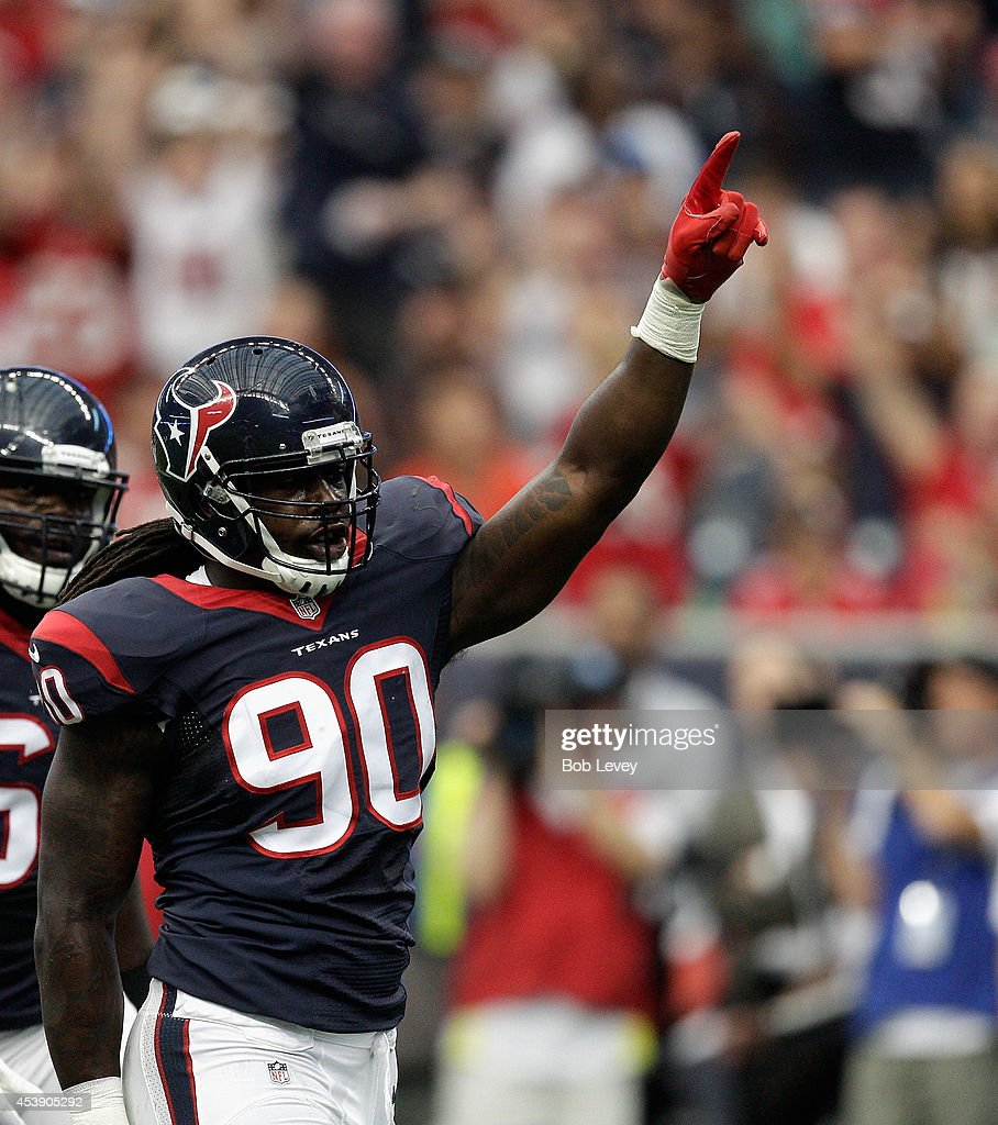 Linebacker Jadeveon Clowney #90 of the Houston Texans in action against the Atlanta Falcons at Reliant Stadium on August 16, 2014 in Houston, Texas.