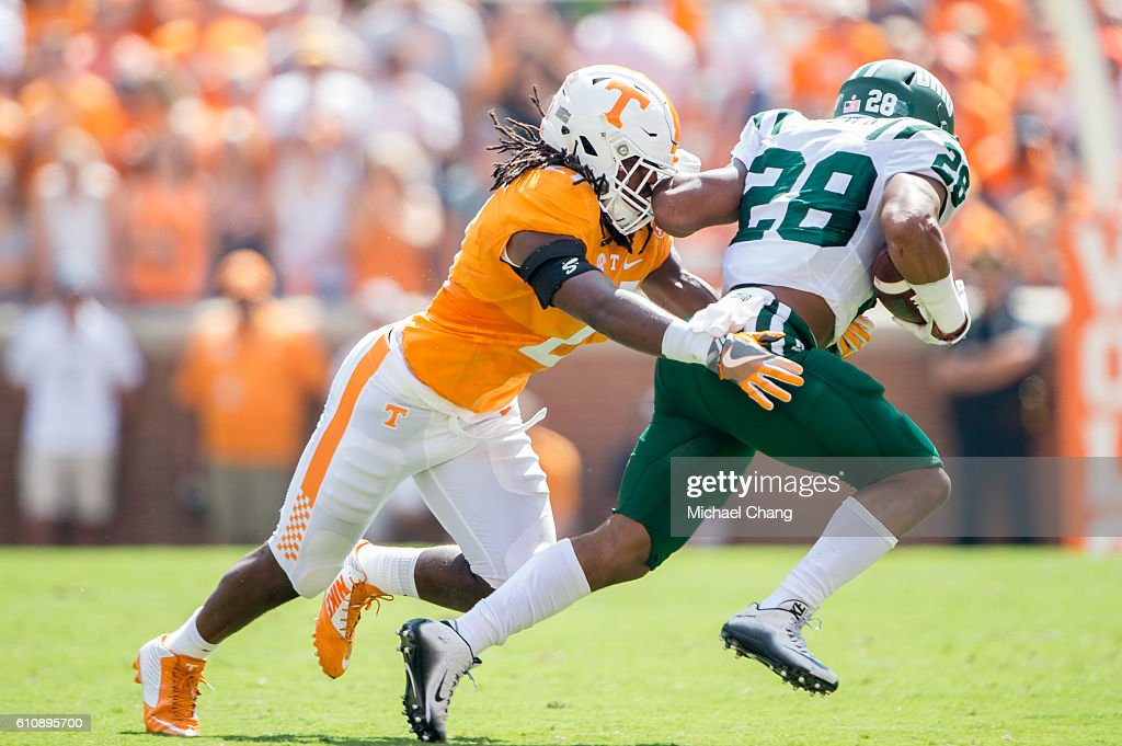 Linebacker Jalen Reeves-Maybin #21 of the Tennessee Volunteers looks to tackle running back Dorian Brown #28 of the Ohio Bobcats at Neyland Stadium on September 17, 2016 in Knoxville, Tennessee.