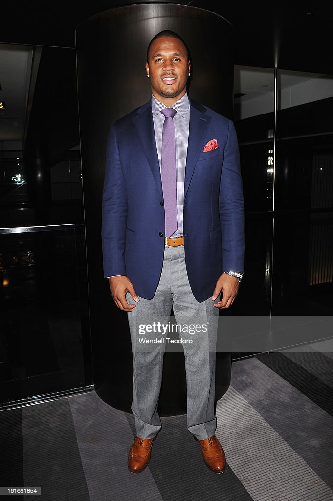 NFL Linebacker James Anderson poses backstage before the Indashio show during Fall 2013 Mercedes-Benz Fashion Week on February 13, 2013 in New York City.