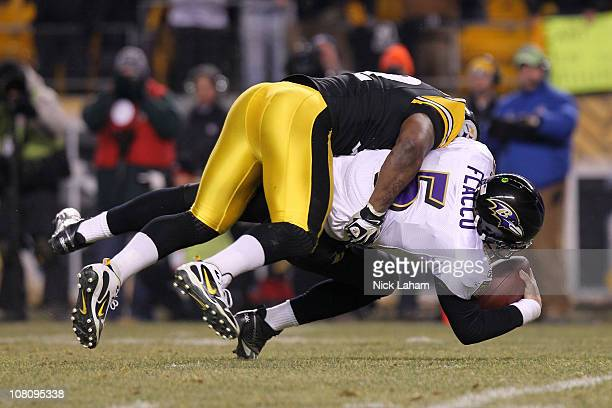Linebacker James Harrison of the Pittsburgh Steelers sacks quarterback Joe Flacco of the Baltimore Ravens during the AFC Divisional Playoff Game at...