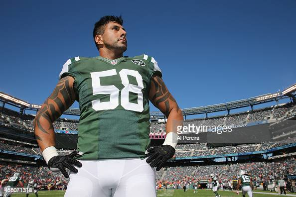 Linebacker Jason Babin of the New York Jets surveys the field before the game against the Denver Broncos at MetLife Stadium on October 12 2014 in...