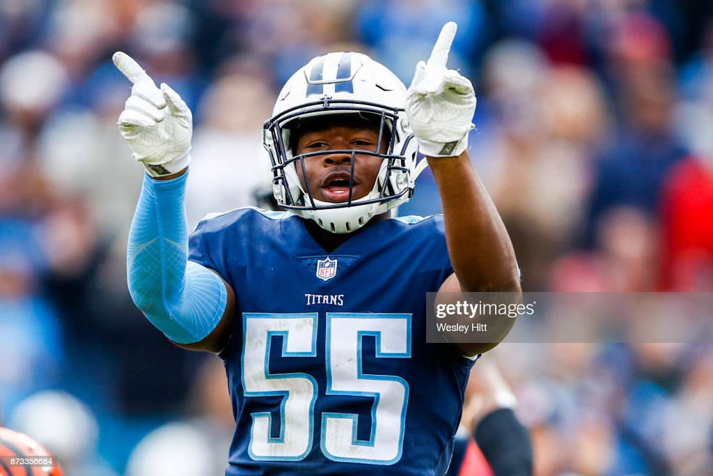 Linebacker Jayon Brown #55 of the Tennessee Titans celebrates after making a tackle against the Cincinnati Bengals at Nissan Stadium on November 12, 2017 in Nashville, Tennessee.
