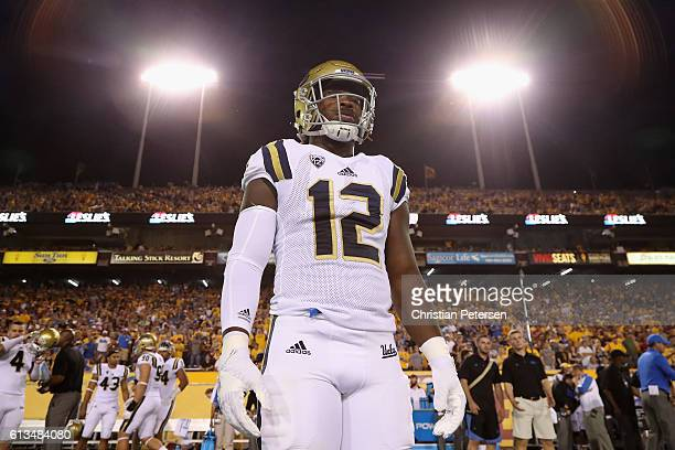Linebacker Jayon Brown of the UCLA Bruins stands on the field before the college football game against the Arizona State Sun Devils at Sun Devil...