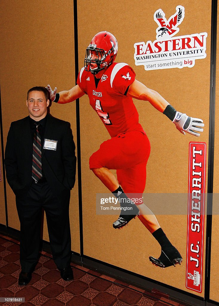 Linebacker J.C. Sherritt, of Eastern Washington University, stands by a life size cut-out after winning the 2010 Buck Buchanan Award during the 24th Annual Football Championship Subdivision Awards on January 6, 2011 in Frisco, Texas.