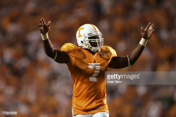 Linebacker Jerod Mayo of the University of Tennessee Volunteers celebrates during the game against the University of Florida Gators on September 16...