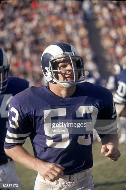 Linebacker Jim Purnell of the Los Angeles Rams runs off the field in an NFL game against the Minnesota Vikings at the Los Angeles Memorial Coliseum...