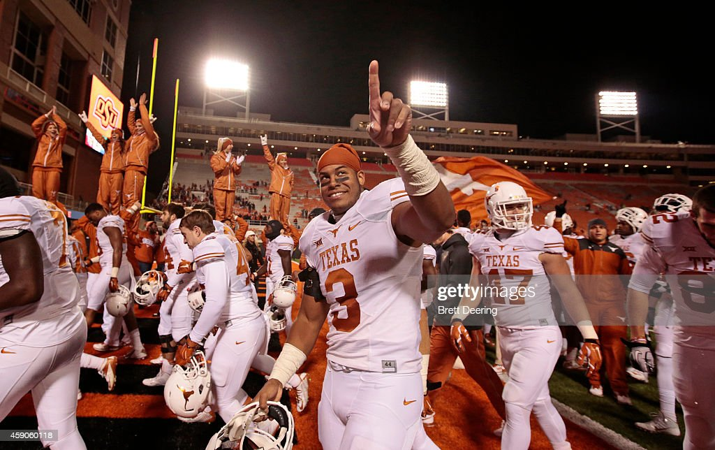 Linebacker Jordan Hicks of the Texas Longhorns celebrates after the game against the Oklahoma State Cowboys November 15 2014 at Boone Pickens Stadium...