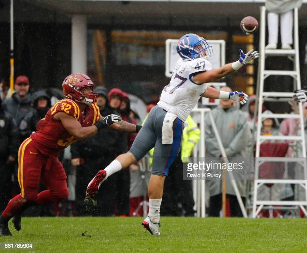 linebacker Keith Loneker Jr #47 of the Kansas Jayhawks breaks up a pass meant for running back David Montgomery of the Iowa State Cyclones in the...