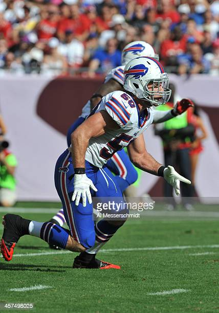 Linebacker Kiko Alonso of the Buffalo Bills sets for play against the Tampa Bay Buccaneers December 8 2013 at Raymond James Stadium in Tampa Florida...