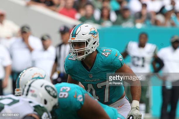 Linebacker Kiko Alonso of the Miami Dolphins in action against the New York Jets on November 6 2016 at Hard Rock Stadium in Miami Gardens Florida The...