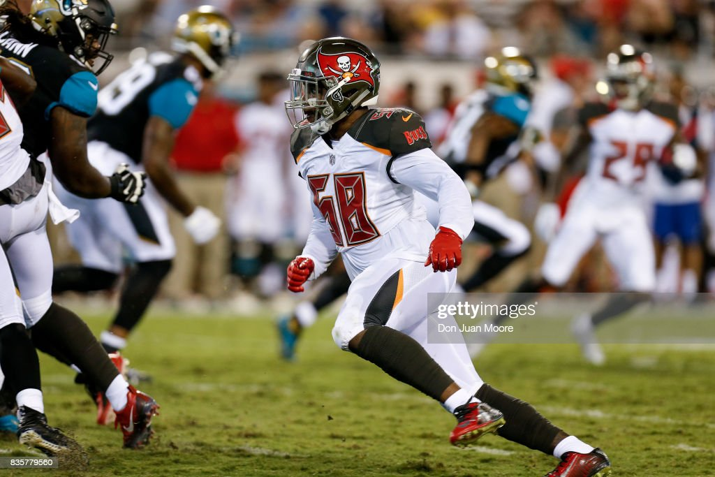 Linebacker Kwon Alexander #58 of the Tampa Bay Buccaneers during the game against the Jacksonville Jaguars at EverBank Field on August 17, 2017 in Jacksonville, Florida. The Buccaneers defeated the Jaguars 12 to 8.