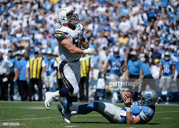 Linebacker Kyle Emanuel of the San Diego Chargers celebrates after sacking quarterback Matthew Stafford of the Detroit Lions at Qualcomm Stadium on...