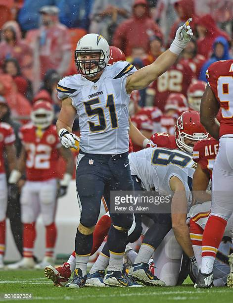 Linebacker Kyle Emanuel of the San Diego Chargers reacts after the Chargers recover a fumble against the Kansas City Chiefs during the first half on...