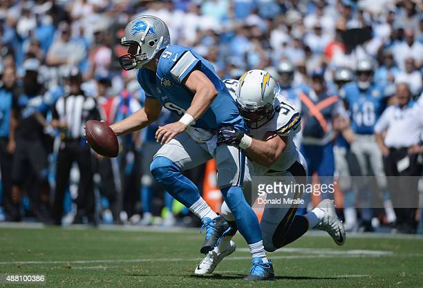 Linebacker Kyle Emanuel of the San Diego Chargers sacks quarterback Matthew Stafford of the Detroit Lions at Qualcomm Stadium on September 13 2015 in...