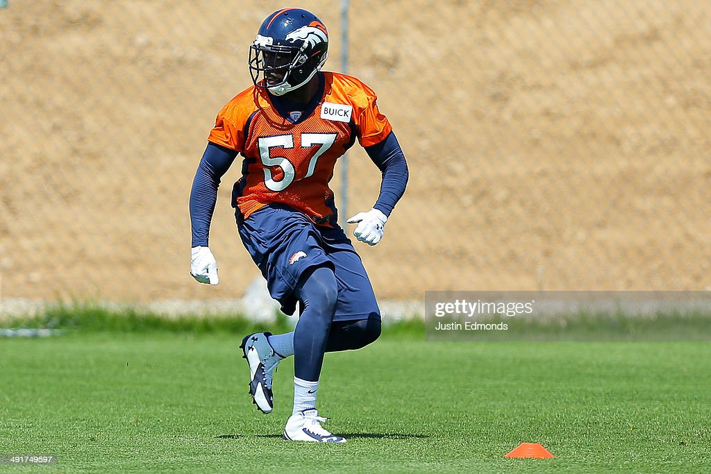 Linebacker Lamin Barrow of the Denver Broncos participates in drills during rookie minicamp at Dove Valley on May 17 2014 in Englewood Colorado