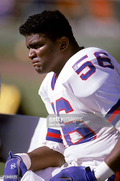 Linebacker Lawrence Taylor of the New York Giants sits on the sidelines