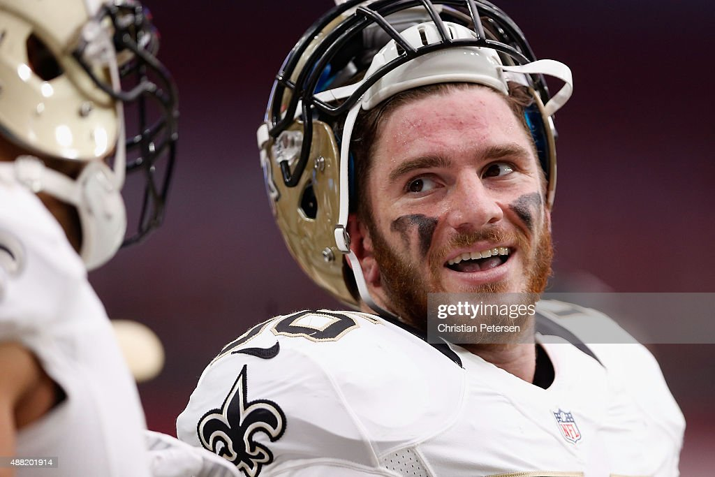 Linebacker <a gi-track='captionPersonalityLinkClicked' href=/galleries/search?phrase=Michael+Mauti&family=editorial&specificpeople=5630085 ng-click='$event.stopPropagation()'>Michael Mauti</a> #56 of the New Orleans Saints on the sidelines during the NFL game against the Arizona Cardinals at the University of Phoenix Stadium on September 13, 2015 in Glendale, Arizona. The Cardinals defeated the Saints 31-19.