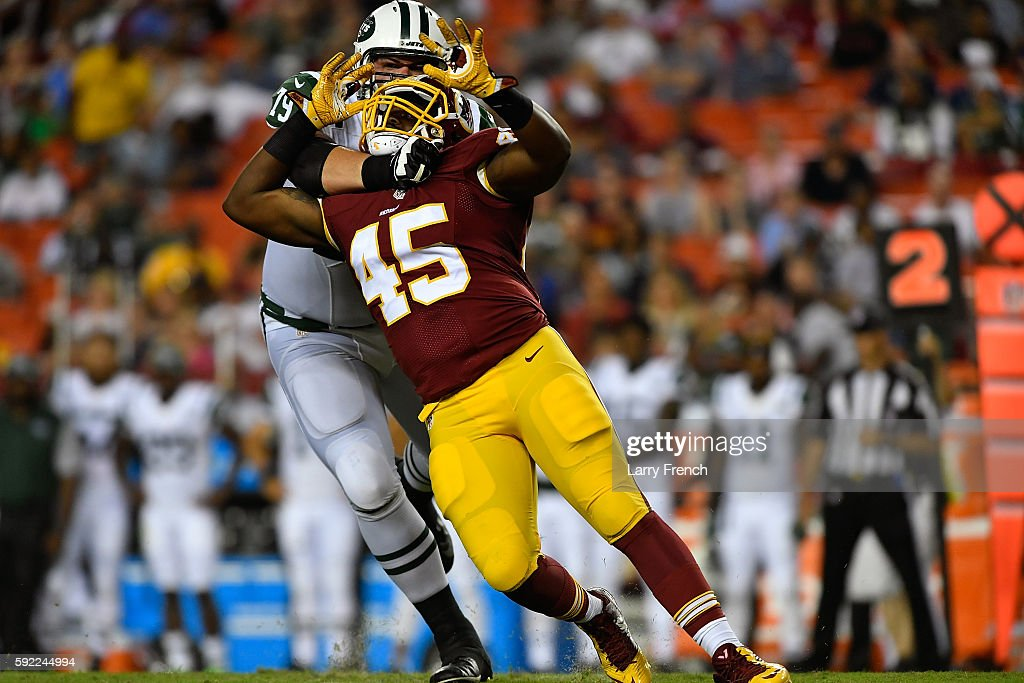 Linebacker Michael Wakefield of the Washington Redskins defends against the New York Jets at FedExField on August 19 2016 in Landover Maryland The...