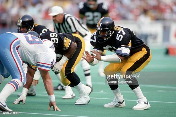 Linebacker Mike Merriweather of the Pittsburgh Steelers looks across the line of scrimmage during a game against the Houston Oilers at Three Rivers...