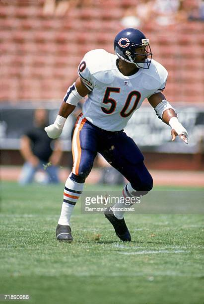 Linebacker Mike Singletary of the Chicago Bears looks on during game action August 1991