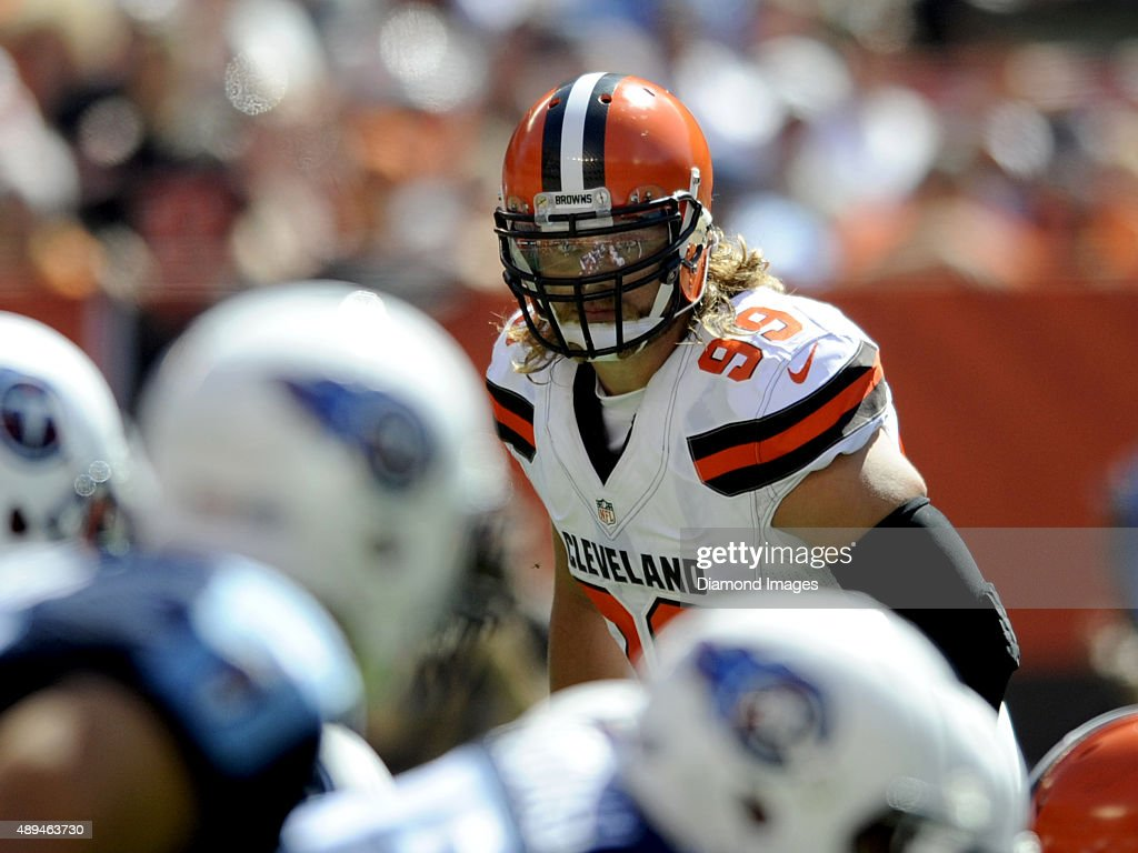 Linebacker <a gi-track='captionPersonalityLinkClicked' href=/galleries/search?phrase=Paul+Kruger+-+American+Football+Player&family=editorial&specificpeople=10177986 ng-click='$event.stopPropagation()'>Paul Kruger</a> #99 of the Cleveland Browns approaches the line of scrimmage during a game against the Tennessee Titans on September 20, 2015 at FirstEnergy Stadium in Cleveland, Ohio. Cleveland won 28-14.