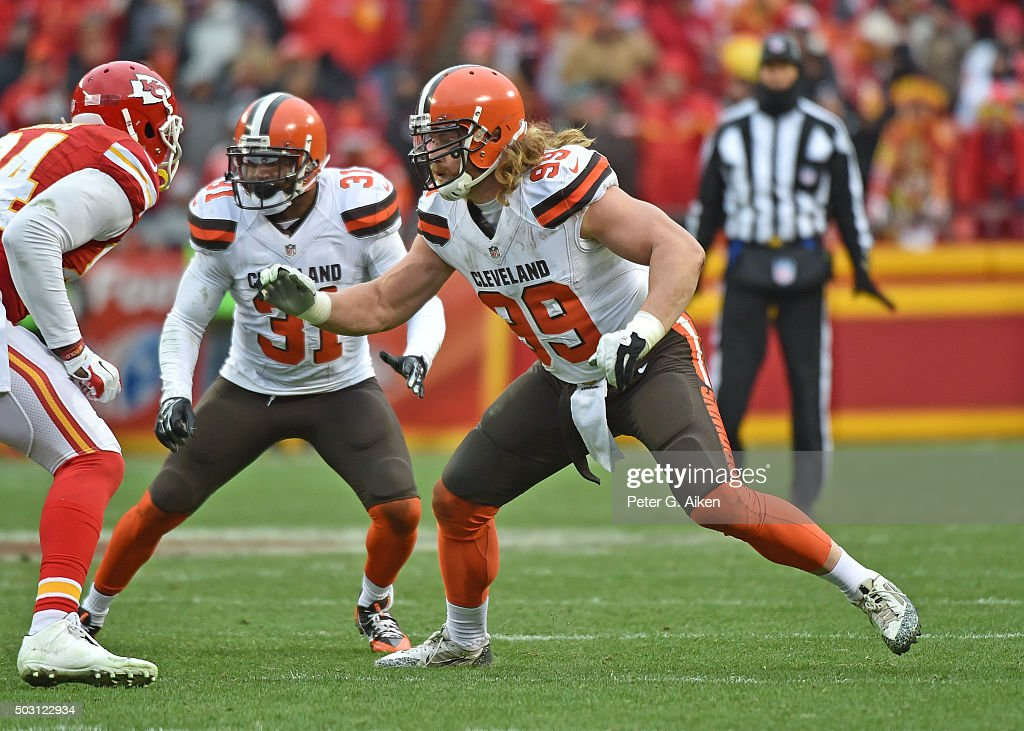 Linebacker Paul Kruger #99 of the Cleveland Browns gets set on defense against the Kansas City Chiefs during the second half on December 27, 2015 at Arrowhead Stadium in Kansas City, Missouri.