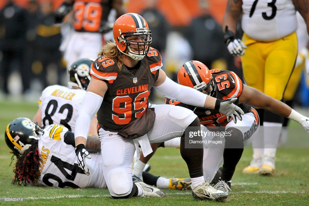 Linebacker Paul Kruger #99 of the Cleveland Browns looks for a call from an official during a game against the Pittsburgh Steelers on January 3, 2016 at FirstEnergy Stadium in Cleveland, Ohio. Pittsburgh won 28-12.