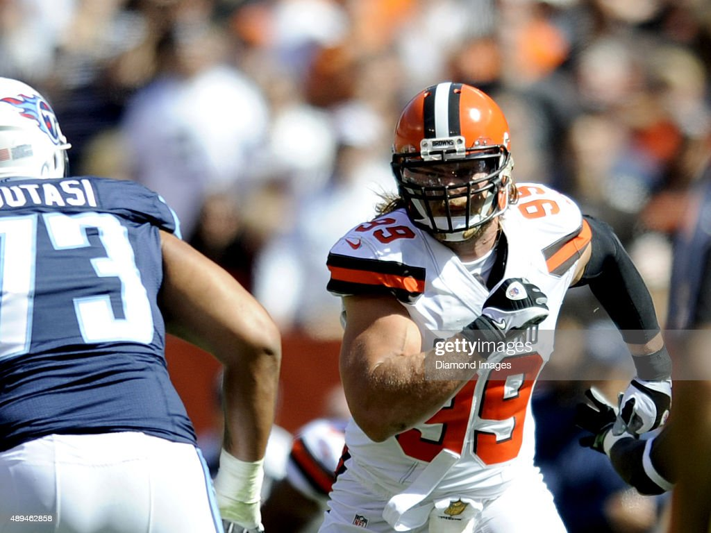 Linebacker Paul Kruger #99 of the Cleveland Browns rushes off the line of scrimmage during a game against the Tennessee Titans on September 20, 2015 at FirstEnergy Stadium in Cleveland, Ohio. Cleveland won 28-14.