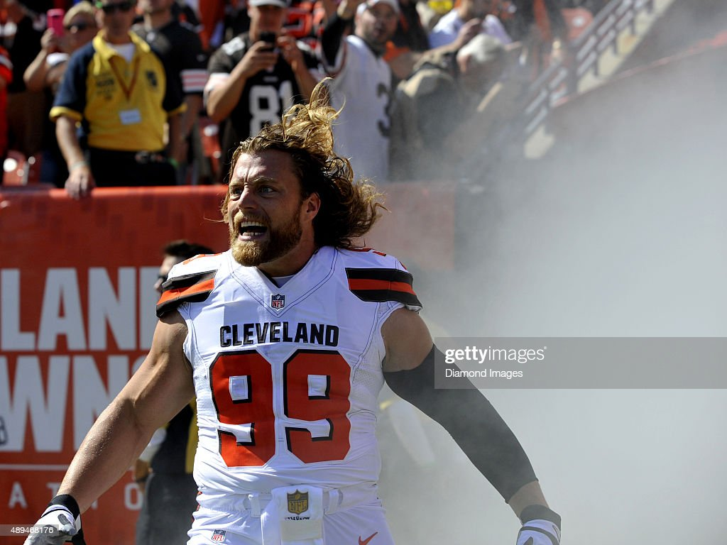 Linebacker <a gi-track='captionPersonalityLinkClicked' href=/galleries/search?phrase=Paul+Kruger+-+American+Football+Player&family=editorial&specificpeople=10177986 ng-click='$event.stopPropagation()'>Paul Kruger</a> #99 of the Cleveland Browns screams as he is introduced to the crowd prior to a game against the Tennessee Titans on September 20, 2015 at FirstEnergy Stadium in Cleveland, Ohio. Cleveland won 28-14.