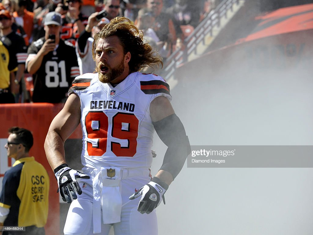 Linebacker Paul Kruger #99 of the Cleveland Browns screams as he is introduced to the crowd prior to a game against the Tennessee Titans on September 20, 2015 at FirstEnergy Stadium in Cleveland, Ohio. Cleveland won 28-14.