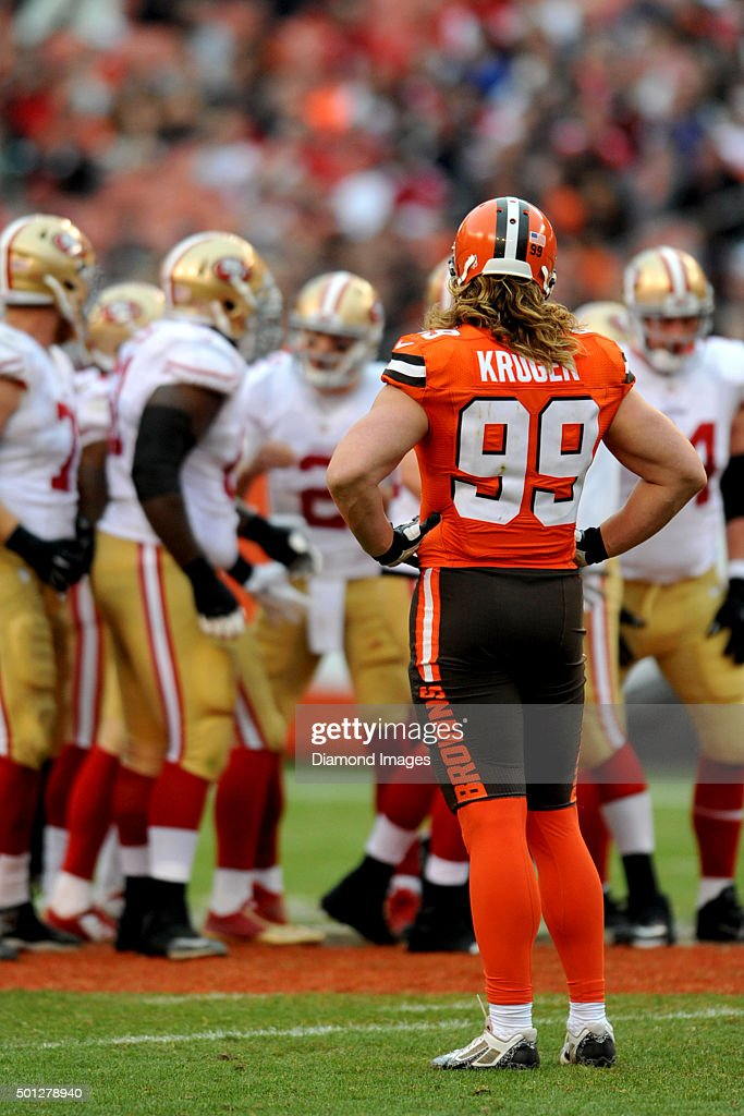 Linebacker <a gi-track='captionPersonalityLinkClicked' href=/galleries/search?phrase=Paul+Kruger+-+American+Football+Player&family=editorial&specificpeople=10177986 ng-click='$event.stopPropagation()'>Paul Kruger</a> #99 of the Cleveland Browns waits for the offense to break the huddle during a game against the San Francisco 49ers on December 13, 2015 at FirstEnergy Stadium in Cleveland, Ohio. Cleveland won 24-10.