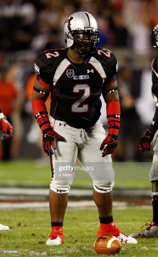 Linebacker Petey Smith gets set for play during the All America Under Armour Football Game at the Florida Citrus Bowl on January 4 2009 in Orlando...
