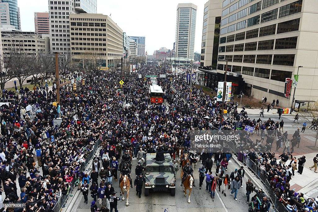 Linebacker Ray Lewis #52 of the Baltimore Ravens gets driven down Pratt Street as he and teammates celebrate during their Super Bowl XLVII victory parade near M&T Bank Stadium on February 5, 2013 in Baltimore, Maryland. The Baltimore Ravens captured their second Super Bowl title by defeating the San Francisco 49ers.