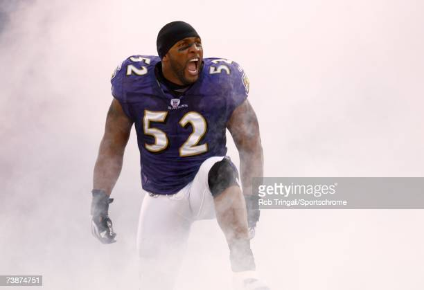 Linebacker Ray Lewis of the Baltimore Ravens reacts to the crowd while being introduced before a game against the Indianapolis Colts during the AFC...