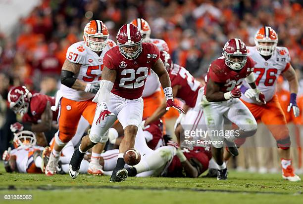 Linebacker Ryan Anderson of the Alabama Crimson Tide recovers a fumble by running back Wayne Gallman of the Clemson Tigers during the third quarter...