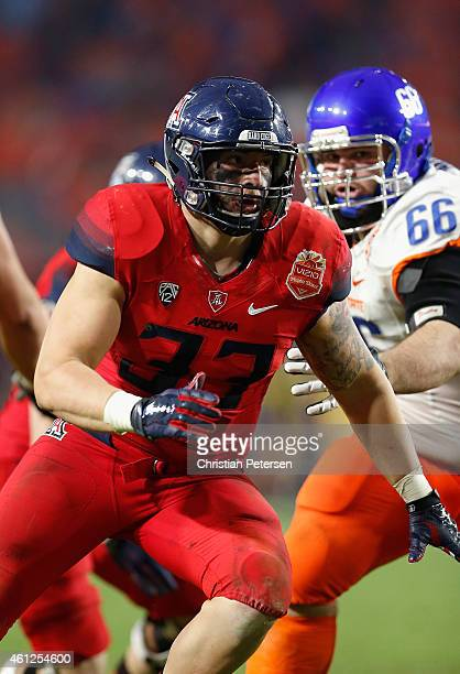 Linebacker Scooby Wright III of the Arizona Wildcats in action during the Vizio Fiesta Bowl against the Boise State Broncos at University of Phoenix...