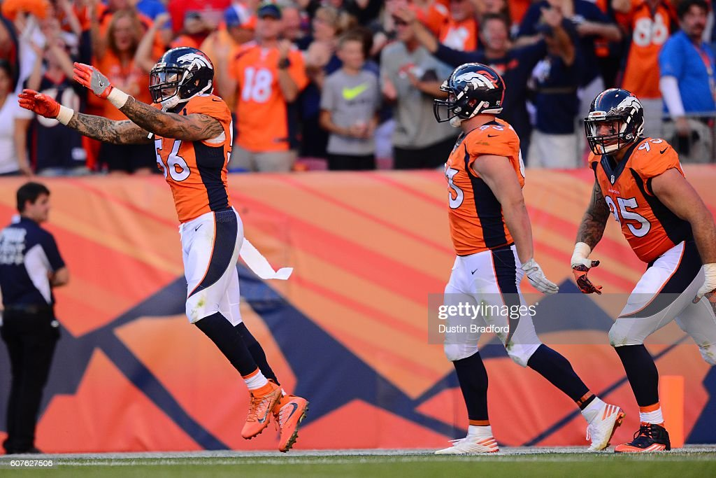 Linebacker Shane Ray #56 of the Denver Broncos celebrates during the game against the Indianapolis Colts at Sports Authority Field at Mile High on September 18, 2016 in Denver, Colorado.
