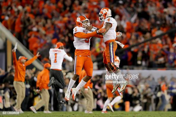 Linebacker Shaq Smith celebrates with quarterback Deshaun Watson of the Clemson Tigers after defeating the Alabama Crimson Tide 3531 to win the 2017...