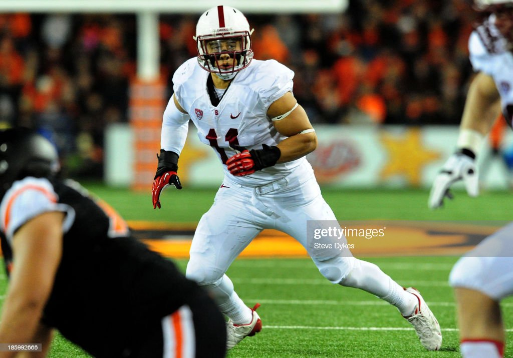 Linebacker Shayne Skov #11 of the Stanford Cardinal moves in to make a play during the third quarter of the game against the Oregon State Beavers at Reser Stadium on October 26, 2013 in Corvallis, Oregon. Stanford won the game 20-12.