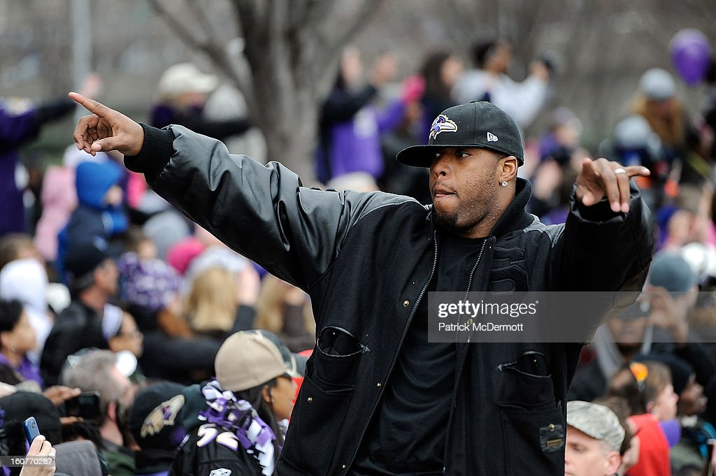 Linebacker Terrell Suggs #55 of the Baltimore Ravens celebrates with his teammates as they celebrate during their Super Bowl XLVII victory parade at M&T Bank Stadium on February 5, 2013 in Baltimore, Maryland. The Baltimore Ravens captured their second Super Bowl title by defeating the San Francisco 49ers.