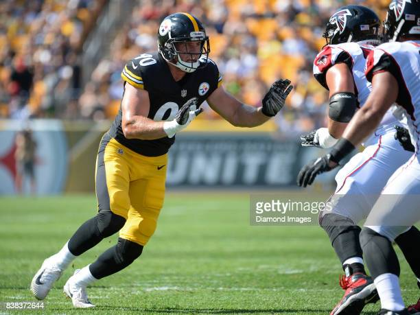 Linebacker TJ Watt of the Pittsburgh Steelers rushes off the line of scrimmage in the first quarter of a preseason game on August 20 2017 against the...