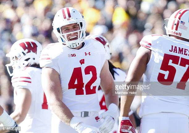 Linebacker TJ Watt of the Wisconsin Badgers celebrates after a stop in the first quarter against the Iowa Hawkeyes on October 22 2016 at Kinnick...